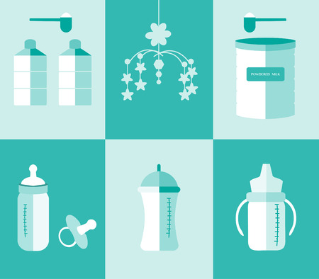 breast nipple: Set of baby milk bottles and powdered milk preparing ,Vector illustrations