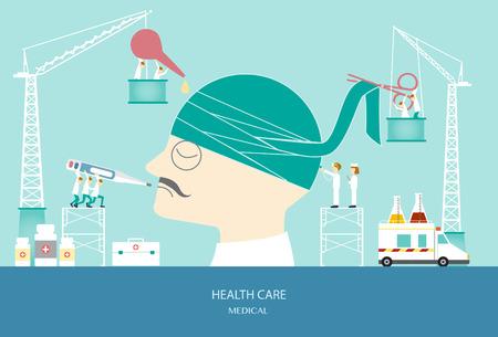 concussion: Design of health care concept,head bandage,vector illustration.