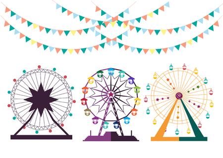 Riesenrad aus Vergnügungspark, Vektor-Illustrationen