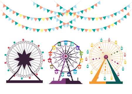 Ferris Wheel from amusement park, vector illustrations