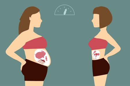 siluetas de mujeres: Antes y después de la mujer nutrición y el ejercicio cambios, ilustraciones vectoriales Vectores