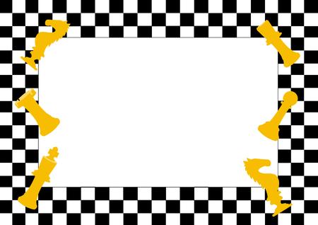Frame van Schaken bordspel en schaakstukken, Grappig frame voor kinderen