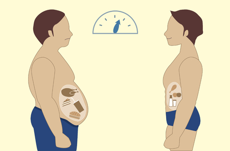 Before and after of man nutrition and exercise changes,Vector illustrations