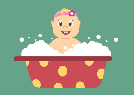 infant bathing: baby in a bath with bubbles,Vector illustrations