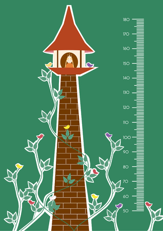 growth chart: Tower,Meter wall or height meter from 50 to 180 centimeter,Vector illustrations
