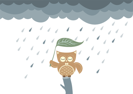 owls cartoon sitting on a branch in the rain,Vector illustrations