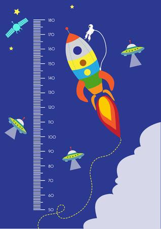 El espacio, la pared del medidor o medidor de altura de 50 a 180 centímetros, ilustraciones vectoriales Ilustración de vector