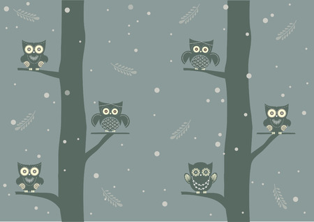heart tone: Owls on branch at day,Design for cards Illustration