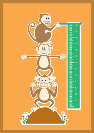 growth chart: Monkey cartoons ,Meter wall or height meter from 50 to 180 centimeter,Vector illustrations
