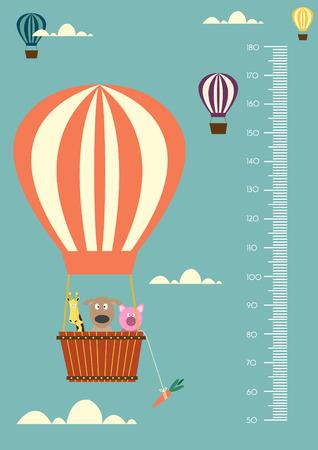 Ballon cartoons, Meter muur of hoogtemeter 50-180 centimeter, Vector illustraties