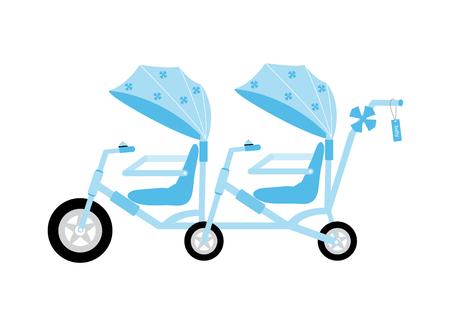 Bikecycle Tándem De Color Azul Para Los Niños, Ilustraciones ...