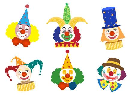 clowns: Clown face set,Vector illustrations