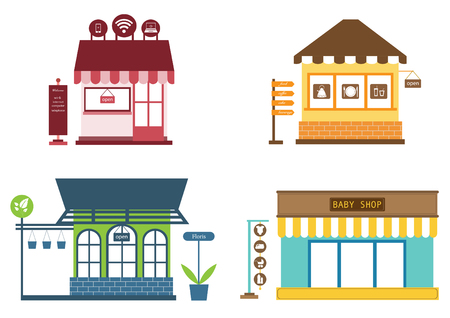 Stores and shops icons set with clothes store