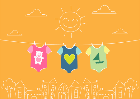 baby clothing on clothespin on morning,Vector illustrations