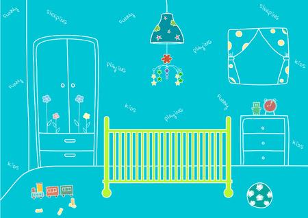 chambre de bébé avec un lit et des jouets, des illustrations vectorielles