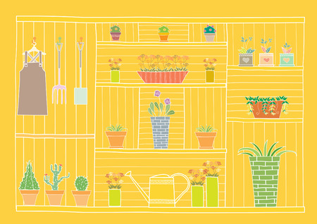 wooden shelf: Gardening tools and flowers on wooden shelf,Vector illustrations