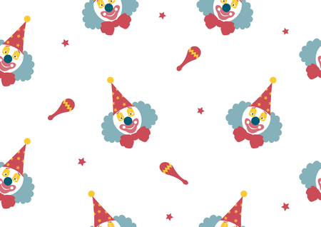 clown face: pattern seamless of Clown face on white backgrouds,Vector illustrations