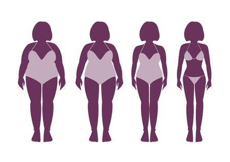 slimming woman in a swimsuit in different weights Illustration