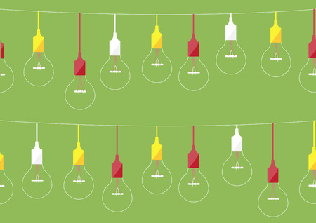 Seamless pattern hanging light bulbs on green backgrounds illustrations