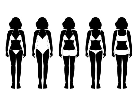 bathing suits: Collection of silhouettes of girls in bathing suits  illustrations