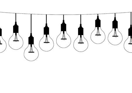 decoration design: Seamless pattern hanging light bulbs illustrations Illustration