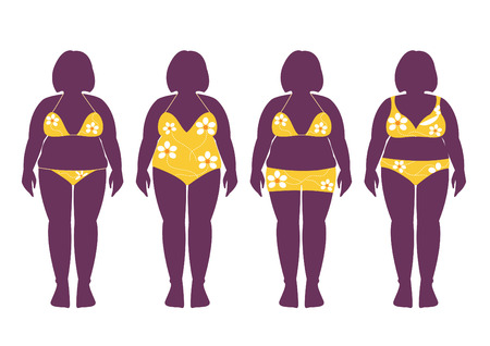 bathing: Collection of silhouettes of fat woman in bathing suits illustrations