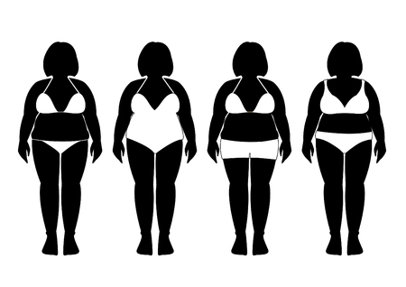 bathing suits: Collection of silhouettes of fat woman in bathing suits illustrations