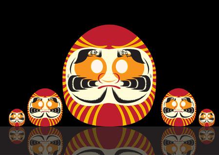 perseverance: Set of Japanese Daruma Doll ,Vector illustratuons