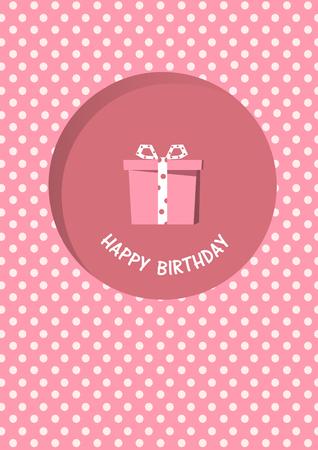 pink vintage: Birthday card,birthday, holiday, christmas,gift,cartoon, vector, illustration Illustration
