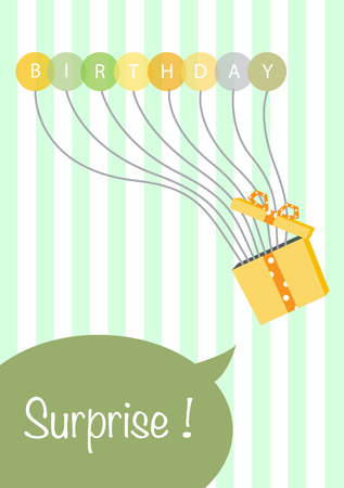 green day baby blue background: Balloons birthday card. gift card and gifts ideal.