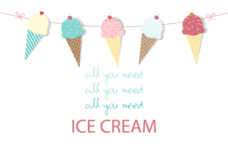 Set of ice cream,Design,card,Vector illustrations