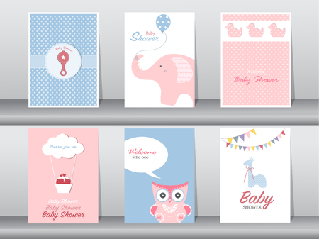 Set van groet en uitnodigingskaart, verjaardag, vakantie, kerstmis, dier, kat, olifant, hond, beer, cartoon, vector illustratie