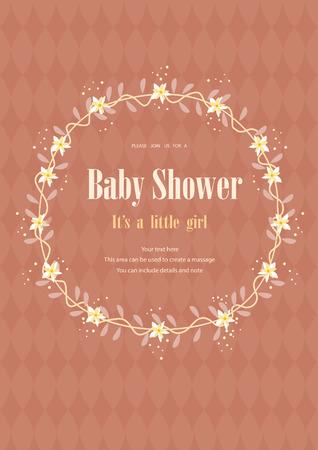 Bébé carte d'invitation de douche avec couronne de fleurs, illustrations vectorielles Vecteurs