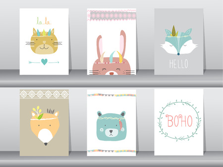 Boho animals in hand drawn style,Vector illustrations