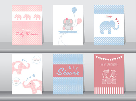 cartoons sweet: Set of baby shower invitation cards,poster,template,greeting cards,animal,elephant,Vector illustrations Illustration