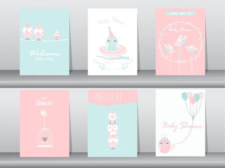 Set van baby shower uitnodigingen, verjaardagskaarten, poster, sjabloon, wenskaarten, dieren, leuk, vogels, Vector illustraties