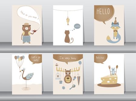 Set of cute animals poster,template,cards,bear,cat,wolf,bird,rat,deer,zoo,Vector illustrations