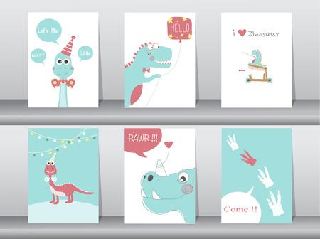 Satz nette Karten, Plakat, Schablone, Grußkarten, Tiere, Dinosaurier, Vektorillustrationen Vektorgrafik