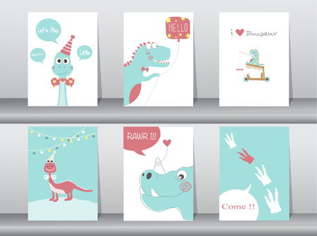 cartoons sweet: Set of cute cards,poster,template,greeting cards,animals,dinosaurs,Vector illustrations