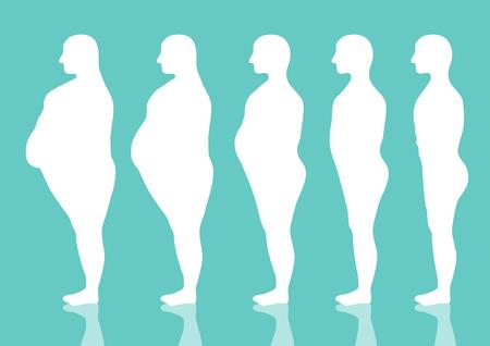 Vijf stadia van het silhouet van de mens op de manier om gewicht te verliezen, Vector illustraties