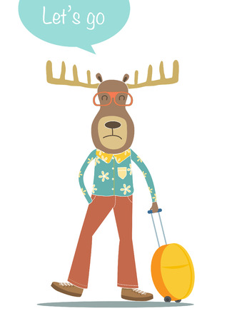 travel bag: Deer cartoon character with travel bag,Can be used for postcard