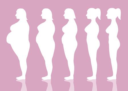 Vijf stadia van het silhouet vrouw op de weg om gewicht te verliezen, Vector illustraties