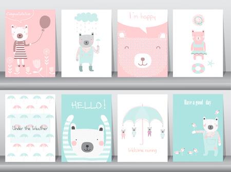 귀여운 동물 포스터, 템플릿, 카드, 곰, 벡터 일러스트 레이 션의 설정