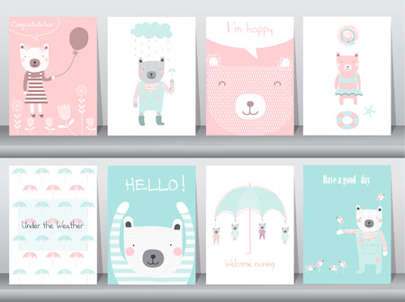 Set of cute animals poster,template,cards,bear,Vector illustrations Ilustração