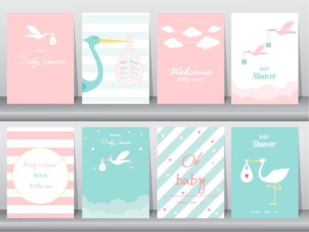 베이비 샤워 초대장 카드, 포스터, 인사, 템플릿, 황새, 벡터 일러스트 레이 션의 설정