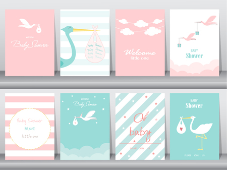Set of baby shower invitations cards,poster,greeting,template,stork,Vector illustrations