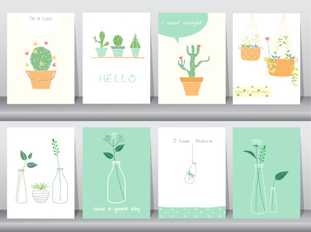 illustrate: Set of cute grow plants poster,template,greeting cards,Vector illustrations