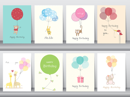 hang up: Set of birthday cards,poster,template,greeting cards,sweet,balloons,animals,Vector illustrations