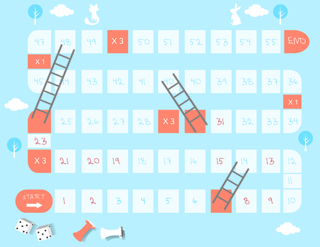 Board games, ladders game, Vector illustrations