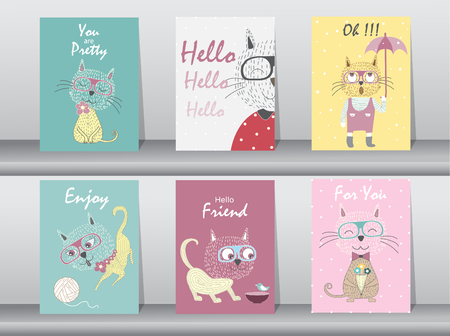 illustrate: Set of cute animals poster